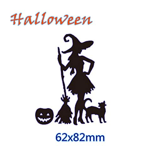 VT BigHome Gowing Witch Cat Bat Halloween Metal
