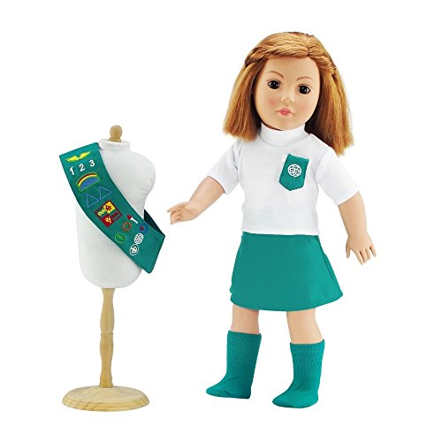 - Doll Outfit Similar to Junior Girl Scout with SOCKS | 18 Inch Dolls Clothes Fits American Girl | Gift-boxed!