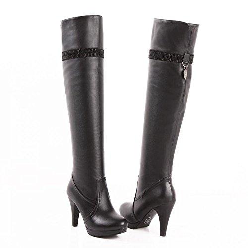 Charme Pied Mode Femmes Plate-forme Haut Talon Sur Les Bottes Au Genou Noir