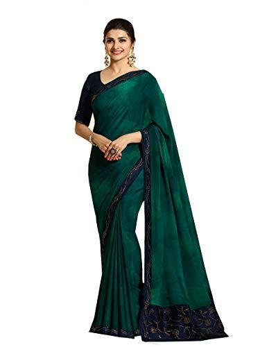 Indian Sari Fashion Designer Ethnic Georgette Saree Milestone (Green)