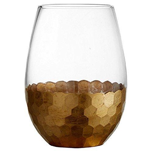 Daphne Gold Stemless 20 oz. Wine Glass, Set of 4 Glasses by - Glass Art Floyd Fitz &