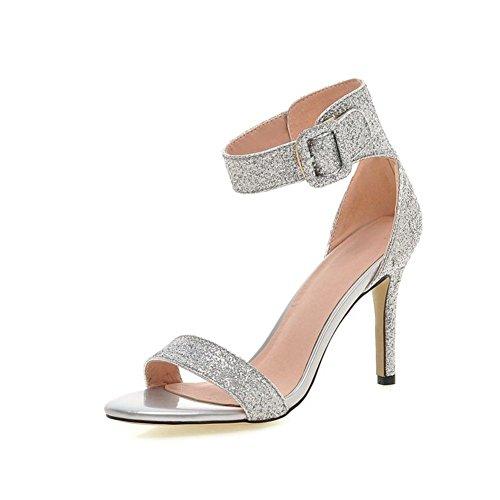 moda sandalias peep-toe plata/Bolsas de lentejuelas sexy stiletto con Velcro alto con sandalias de las mujeres A