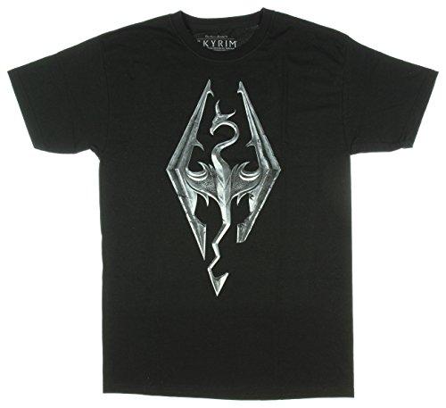 Bioworld Skyrim Elder Scrolls Logo Adult Black T-Shirt (X-Large)