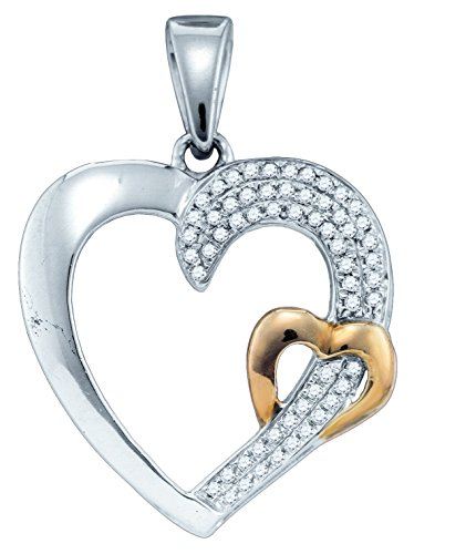 Sterling Silver Womens Round Diamond 2-tone Heart Love Pendant 1/6 Cttw