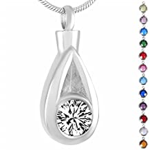 Memorial Jewelry Birthstone Personalized Funeral Casket Cremation Jewelry White Crystal Pet Urn Keepsake