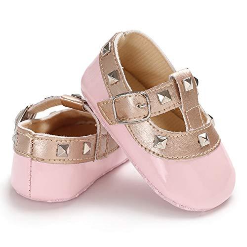 Bebe recien Nacido, nina, Antideslizante, Zapatos de soborno, Princesa, Suave Suela de Cuero, Primer Andador, Calzado (Color : Pink, Size : 3-6 Months)