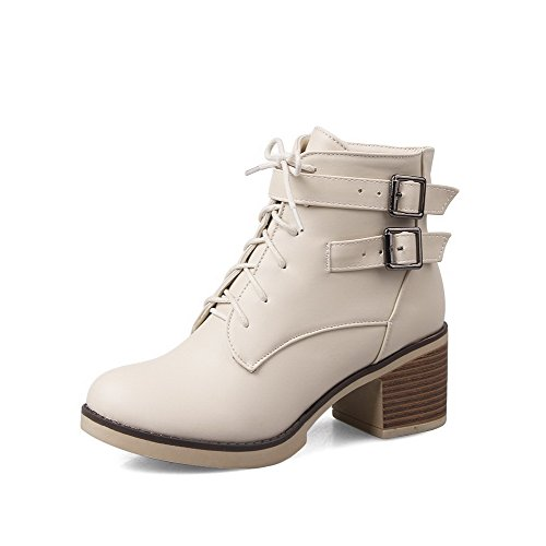 WeenFashion Women's Solid Kitten-Heels Round Closed Toe PU Zipper Boots, Beige, - Discount M&m Delivery Codes Free