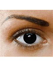 Phantasy Eyes ® gekleurde contactlenzen: Halloween Crazy Lens (BLIND BLACK), zonder correctie: comfortabel om te dragen en ideaal voor Halloween of Carnaval. + gratis lenshouder!