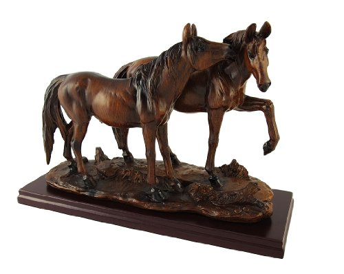 Things2Die4 Resin Statues Wood Finish Wild Horses Statue 10 X 7 X 3.75 Inches Brown -