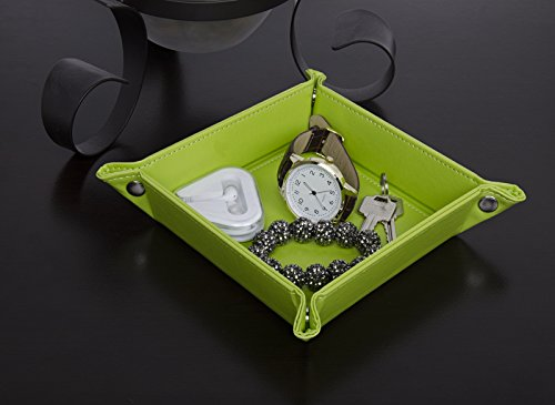 Leather Foldable Jewelry Catchall Green