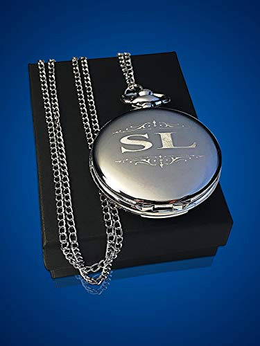 Engraved Pocket Watch, Groomsmen watch with box and chain included, Men's Wedding gift (Pocket Watches Value)