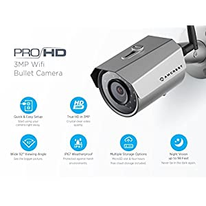 Amcrest ProHD Outdoor 3-Megapixel (2304 x 1296P) WiFi Wireless IP Security Bullet Camera - IP67 Weatherproof, 3MP (1080P/1296P), IP3M-943S (Silver)