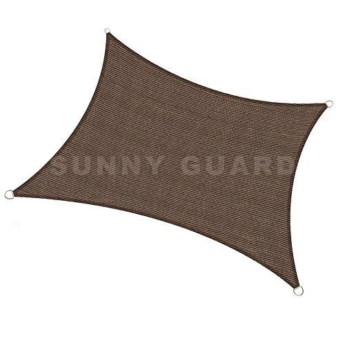 """SUNNY GUARD 6.5' x 9'10"""" Brown Rectangle Sun Shade"""