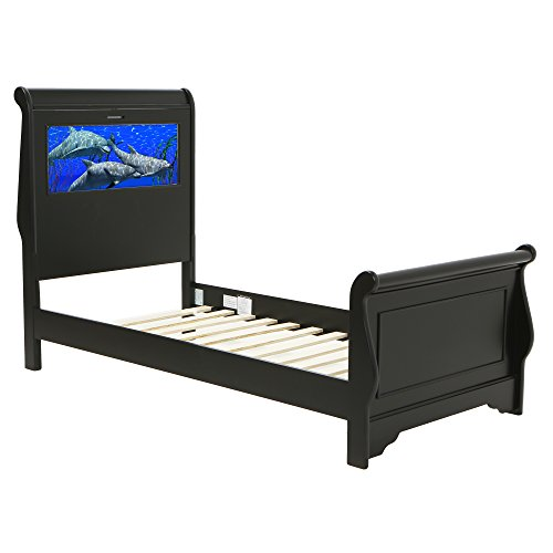 LightHeaded Beds 20269 Edgewood Sleigh Twin Bed with Changeable Back-Lit LED Imagery Headboard, Satin Black ()