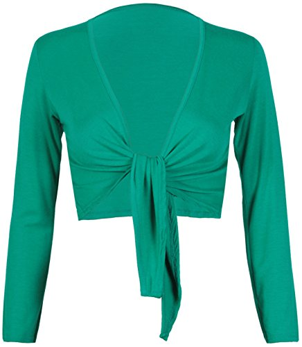 Tie Knot Up shrug Front Cropped Bolero Shrugs Cardigan Wrap Women's Ladies Long Full Sleeve Open Top (Shrug Sweater Top)