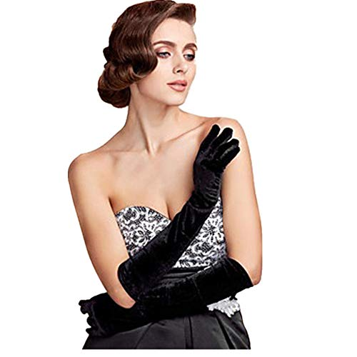 (Gold velvet gloves,MoreBest Evening Dress Gloves in the Long Section of Warm Blanket Etiquette Ladies Thin Banquet Nobility Ceremonial Gloves)