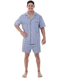 Del Rossa Men's Cotton Pajamas, Short Button-Down Woven...