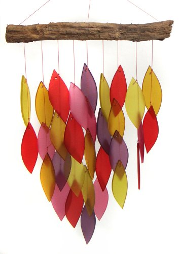 Blue Handworks Jewel Tones Glass Waterfall Wind Chime