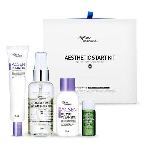 Acne Complex Kit - [TROIAREUKE] Aesthetic Start Kit/Acsen Oil Cut Cleansing + Skin Complex Formula + Healing Cocktail (Green) + Recovery Cream/Cleansing, Moisturizing, Skin Protection