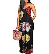shengfan Plus Size Maxi Dresses Sundress for Women Loose Printed Adjustable African Beach Dress w...
