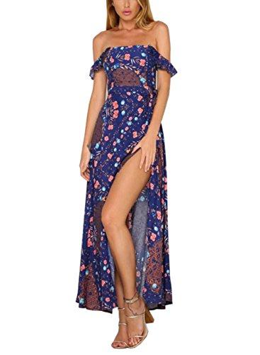 Maxi Dress Split Sexy The FFLMYUHULIU Summer Women C2786zangqing Boho Shoulder Party Off Beach 0P6w0BH8qO