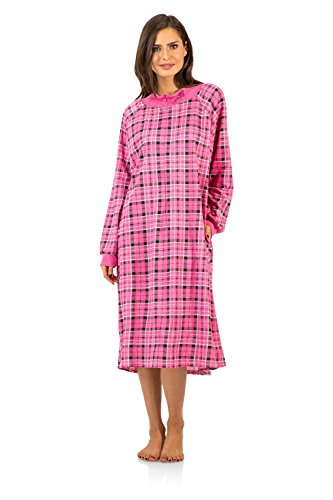 (Casual Nights Women's Plaid Long Sleeve Zip Up Long Nightgown - Pink - Medium)