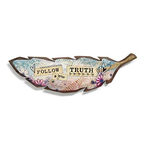 Plaque Metal Artistic - DEMDACO Follow Your Truth Feather Floral Pink 10 x 3 Carved Paulownia Wood and Metal Decorative Plaque