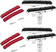 Vsiki 2 Pairs Rubber Bike Brake Pads Set (70mm), Universal Bicycle V-Brake Blocks Kit with 4PCS Replacement Pa