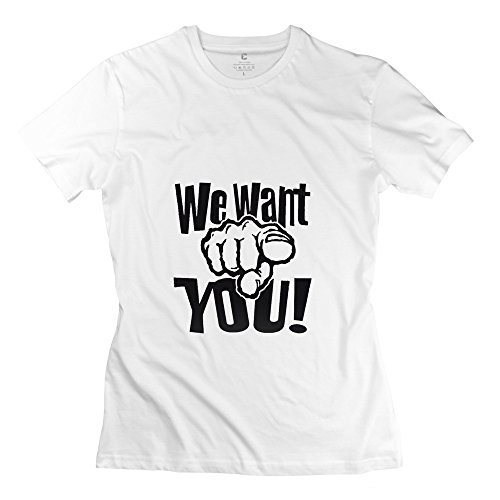 Manrv Womens We Want You Gesture T Shirts S White