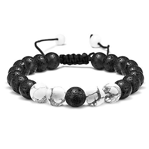 M MOOHAM Lava Rock Bracelet - 8mm Lava Rock Bead White Turquoise Anxiety Bracelet, Men Women Stress Relief Yoga Beads Aromatherapy Essential Oil Diffuser Healing Bracelets