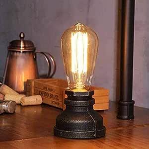 AOKARLIA Hierro Base Steampunk Lámpara de Mesa Lámpara Escritorio ...