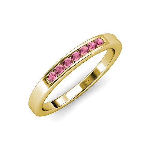 Rhodolite Garnet 7 Stone Channel Set Wedding Band 0.44 ct tw in 14K Yellow Gold.size 7.5