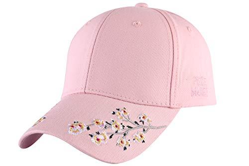 (ZLYC Embroidered Cotton Baseball Cap Adjustable Strapback Hat (Plum Blossom Pink))