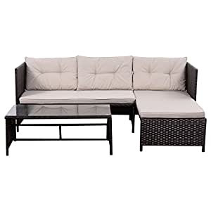 Outdoor Furniture Sofa Set Lounge Chaise Cushioned Patio Garden Rattan Mix Brown