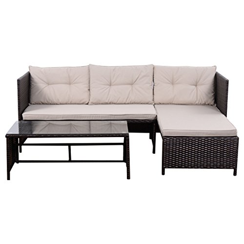 Tangkula 3 PCS Outdoor Rattan Furniture Sofa Set Lounge Chaise Cushioned Patio Garden by Tangkula (Image #1)