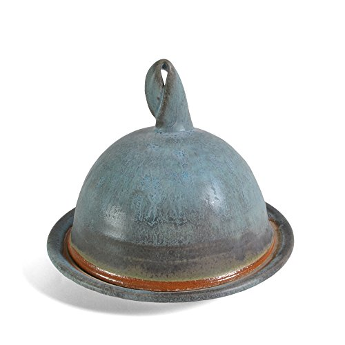 Dock 6 Pottery Butter or Cheese Dish with Dome Lid, Turquoise