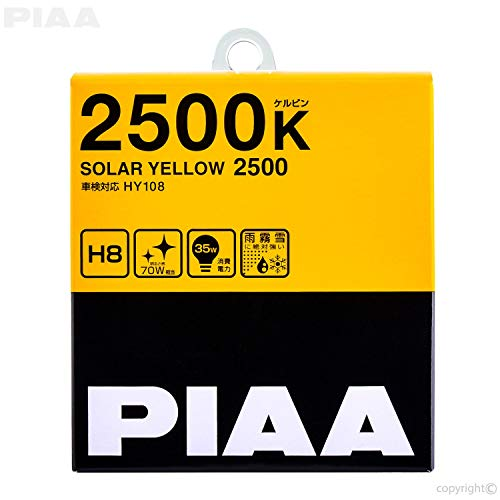 PIAA 22-13408 H8 Solar Yellow Twin PACK-2500K-12V 35W, 2 - Hid Lights Piaa