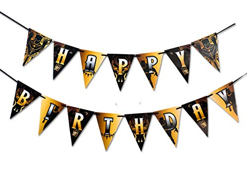WELLIN Birthday Paper Black Panther Pennant Banner Theme Decoration