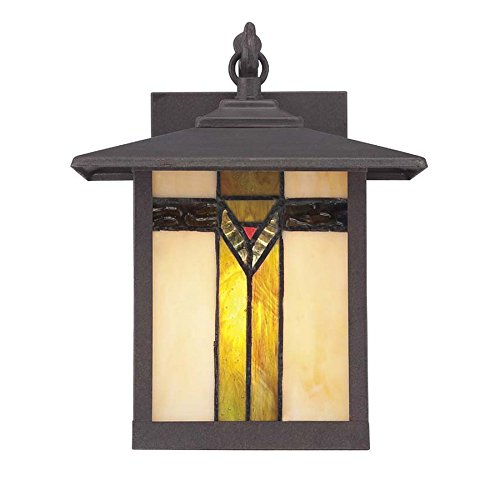 Allen & Roth Tiffany Style Art Glass Aged Bronze - Outdoor Porch Light / Wall Lantern