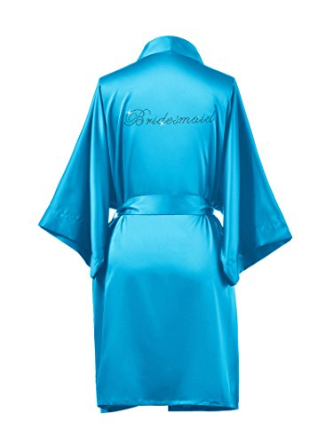 AWEI Satin Bridesmaid Robes Short Bridal Robes for Bridesmaid Gifts Soft Womens Kimono Robe Sky Blue M//ZS1604CPP03A// by AWEI