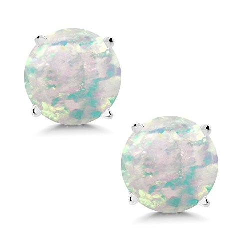 Gem Stone King 0.60 Ct Round Cabochon 6mm White Simulated Opal 14K White Gold Stud - Cabochon Earrings White