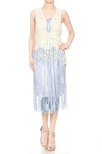 Gastby kaci 1920 Increspato Del Maglia up Donne D'epoca Pezzi Anna Cover Due All'uncinetto Pizzi Maniche Blue A Vestito Fiore P80wkXnO