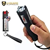 Flashlight Stun Gun Hot Pepper Spray Self Defense Weapons Set High Volt Rechargeable Mini Police Taser Combo With Cree LED Bulb. Best OC Pepper Spray Self-Defence Keychain Security For Women Or Men.