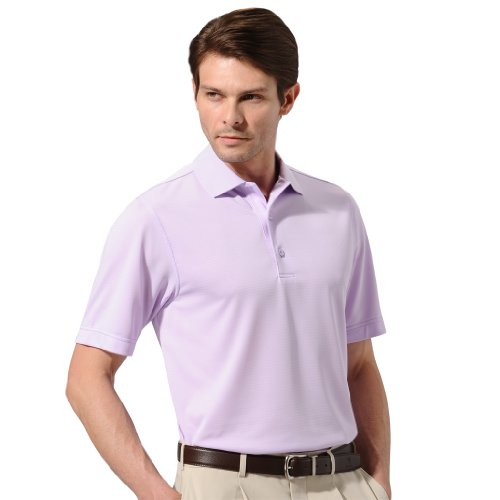 Monterey Club Men's Dry Swing Texture Stripe Tonal Polo Shirt #1065 (Grey Lilac, Large)