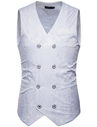 ZEROYAA Mens Hipster V Neck Slim Fit Double Breasted Paisley Dress Vest for Suit or Tuxedo Z66 White Medium