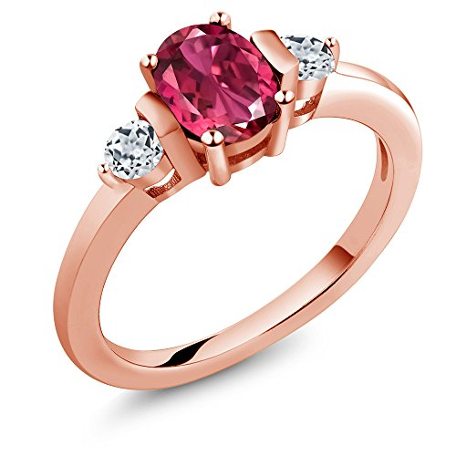 - Gem Stone King 0.98 Ct Oval Pink Tourmaline White Topaz 18K Rose Gold Plated Silver Ring (Size 5)