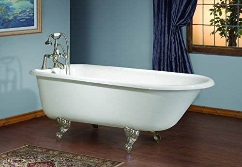 Antique Cast Iron Tubs - Cheviot Products Inc. 2093-WC-8-AB-Raintree Green Customized TRADITIONAL Cast Iron Bathtub with Flat Area for Faucet Holes/Antique Bronze Feet, 8