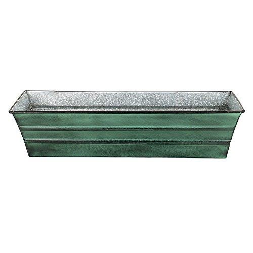 Achla Designs Galvanized Window Flower Box Planter-Green-Small (22