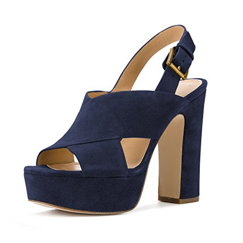 YDN Women's Peep Toe Platform Slingback Sandals Chunky High Heel Pumps Cross Straps Chic Shoes Navy 8 - Navy Sling
