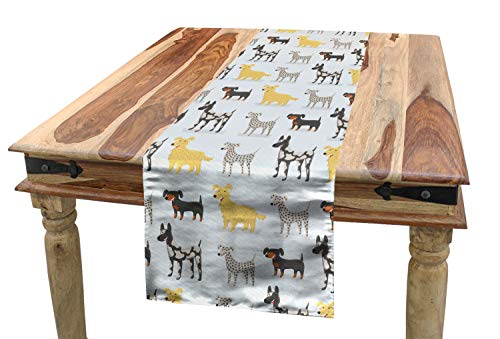(Lunarable Dogs Table Runner, Cute Dogs Dalmatian Yorkshire Terrier German Shorthaired Pointer Playroom Nursery, Dining Room Kitchen Rectangular Runner, 16 W X 90 L Inches,)